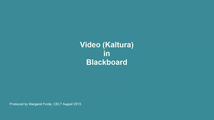 Kaltura (Video) in Blackboard
