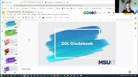 Thumbnail for entry IT Virtual Workshop - D2L Gradebook