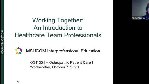 Thumbnail for entry OST551 CDW/IPE Event: Healthcare Team Professionals