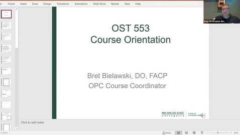 Thumbnail for entry OST553 Faculty Orientation Meeting