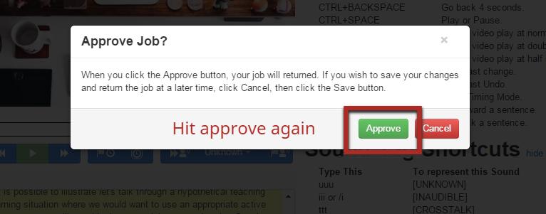 Approve caption edits dialog box.