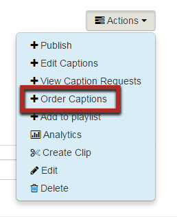 Highlight of Order Captioins option in Actions menu.