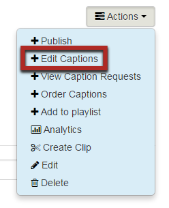 Highlight of Edit Captions option in the Actions menu.