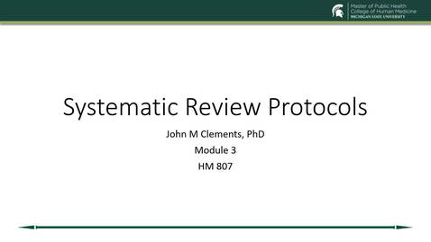 Thumbnail for entry US19 HM 807 730 Clements - Mod 3 Systematic Review Protocols