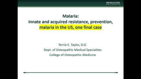 Thumbnail for entry IM618 - Malaria Part 8 - Malaria in the US