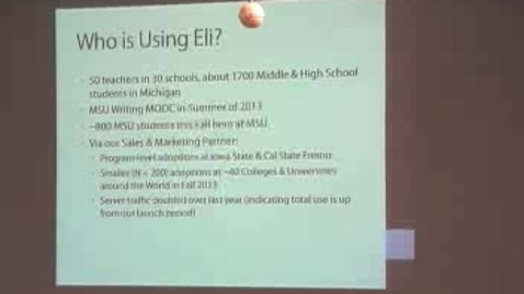 Thumbnail for entry  Experiences with Creating and Using Eli Review- Brown Bag 11-01-2013