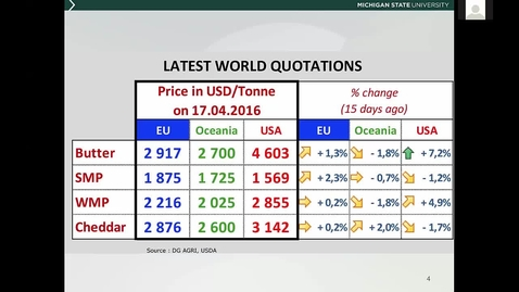Thumbnail for entry Dairy Commodity Update by Dr. Chris Wolf, April 26th, 2016