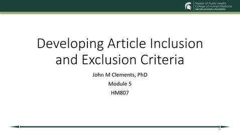 Thumbnail for entry US19 HM 807730 Clements - Mod 5 Inclusion and Exclusion Criteria