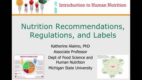 Thumbnail for entry Mini Lecture 1.5 --- Nutrition Recommendations, Regulations and Labels