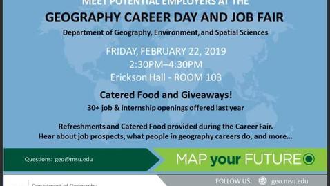Thumbnail for entry Geography Career Day & Job Fair, 22 Feb 2019