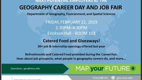 Thumbnail for entry Geography Career Day & Job Fair, 22 Feb 2019