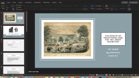 Thumbnail for entry Lecture 21.2:  The Effects of Train Travel and the 1851 Great Exhibition
