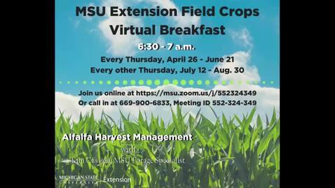 Thumbnail for entry Virtual Breakfast 5/17/18: Kim Cassida, Alfalfa Harvest Management