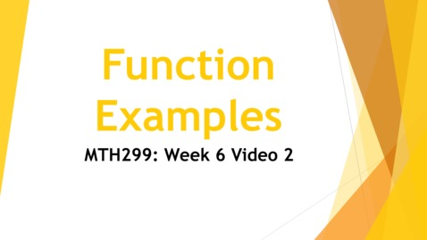 Thumbnail for entry Week 6 Video 2 - Function Examples