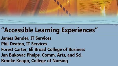 Thumbnail for entry Accessible Learning Experiences 02/24/2017