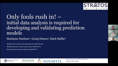 Thumbnail for entry Only fools rush in! - Initial data analysis is equired for developing and validating prediction models