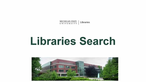 Thumbnail for entry Libraries Search