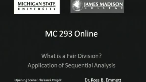Thumbnail for entry Fair Division: Application of Sequential Analysis