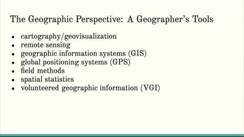 Thumbnail for entry ISS310: A Geographer's Tools