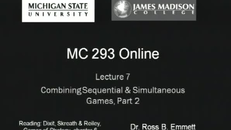 Thumbnail for entry Combining Sequential and Simultaneous Games, Part 2
