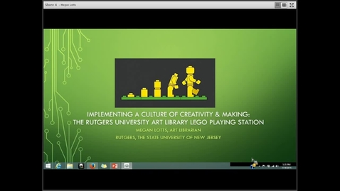 Thumbnail for entry Implementing a Culture of Creativity & Making: The Rutgers University Art Library Lego Playing Station