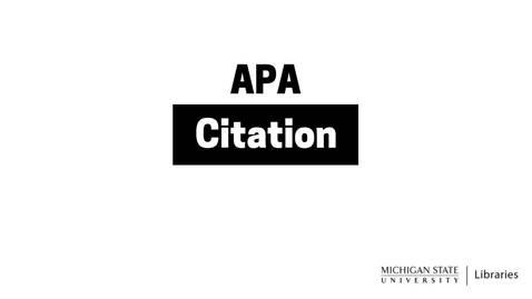 Thumbnail for entry APA Citation (6th ed.)