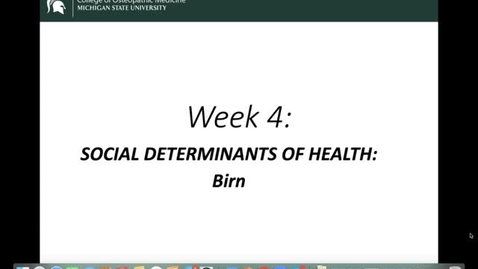 Thumbnail for entry OST 825: Gifford: Week 4: Social Determinants of Health: Birn