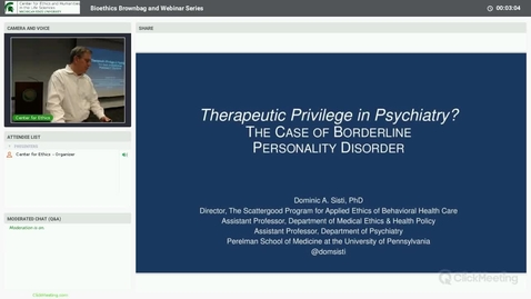 Thumbnail for entry Therapeutic Privilege in Psychiatry? The Case of Borderline Personality Disorder