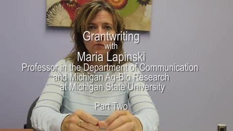 Thumbnail for entry Maria Lapinski - Grantwriting - Part Two