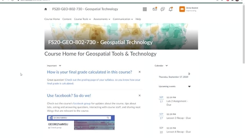 Thumbnail for entry Geo802v: How to view your grade and Instructor's feedback in an Assignment Folder (dropbox)