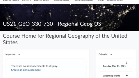 Thumbnail for entry GEO330: Your Course Website in D2L