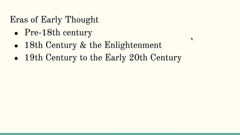 Thumbnail for entry ISS310: Eras of Early Environmental Thought