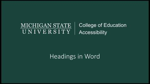 Thumbnail for entry Word Headings Tutorial