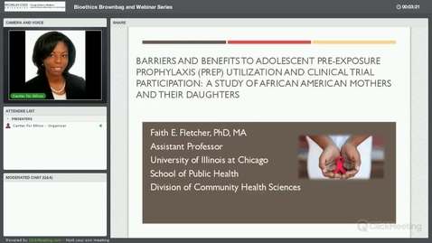 Thumbnail for entry Ethical Implications of HIV Pre-Exposure Prophylaxis (PrEP) for African American Women and Adolescent Girls