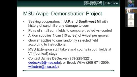 Thumbnail for entry Wildlife Management and Crop Damage Webinar 3-22-19 - Avipel Project and Crane Q&A