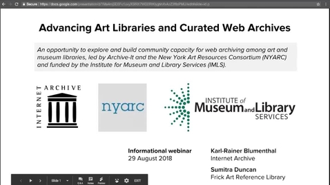 Thumbnail for entry Advancing Art Libraries and Curated Web Archives