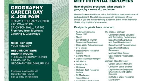 Thumbnail for entry Geography Career Day & Job Fair, Friday, 21 February 2020