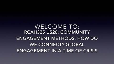 Thumbnail for entry RCAH325 US20 Welcome Video