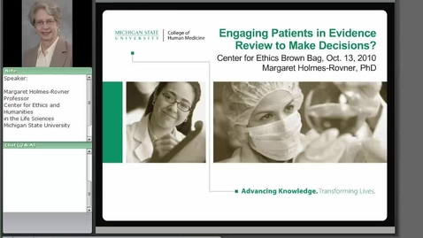 Thumbnail for entry Engaging Patients in Evidence Review to Make Decisions?