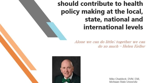 Thumbnail for entry VM 501-How veterinarians can and should contribute to health policy making at the local, state, national and  international levels -Chaddock