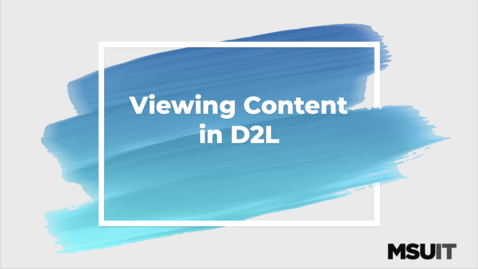 Thumbnail for entry Viewing Content in D2L
