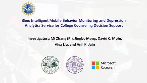 Thumbnail for entry iSee: Intelligent Mobile Behavior Monitoring and Depression Analytics Service for College Counseling Decision Support