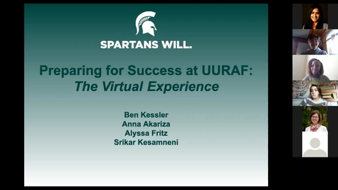 Thumbnail for entry Preparing for Success at UURAF 2021 - Virtual Symposium