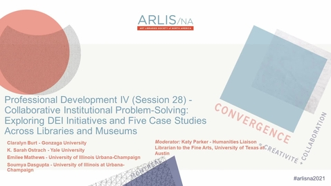Thumbnail for entry Collaborative Institutional Problem-Solving: Exploring DEI Initiatives and Five Case Studies Across Libraries and Museums