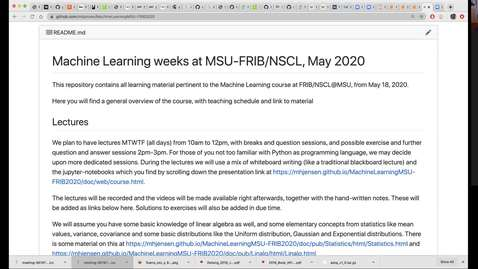 Thumbnail for entry Machine Learning course at FRIB/NSCL, May 26 Lecture