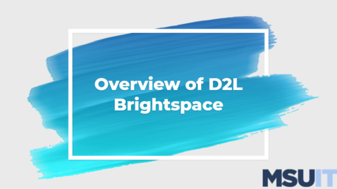 Thumbnail for entry IT Virtual Workshop - Overview of D2L Brightspace (06.23.2021)