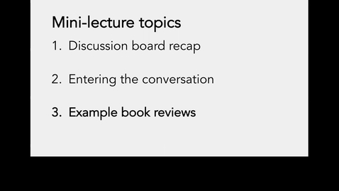 Thumbnail for entry Lecture 4-Part 3_Book review examples_Week 4