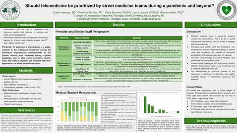 Thumbnail for entry Should Telemedicine be Prioritized by Street Medicine Teams during a Pandemic and Beyond? (Schafer/ Heenan/Le)