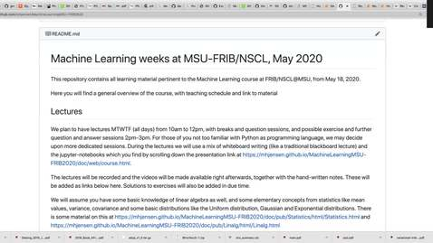 Thumbnail for entry Machine Learning course at FRIB/NSCL, May 25 Lecture