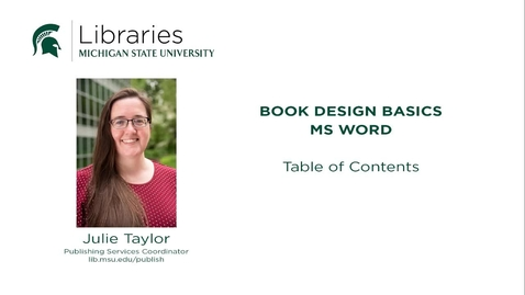 Thumbnail for entry Book Design Tips: Table of Contents
